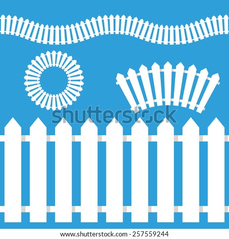 An image of a wooden white picket fence icon set. - stock vector