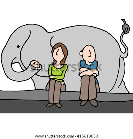 An image of a worried couple elephant in the room. - stock vector
