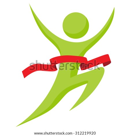 An image of an abstract man running across the finish line. - stock vector