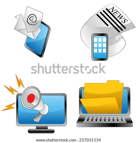 An image of announcement icons. - stock vector