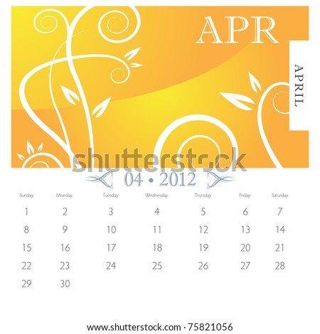 An image of April month victorian calendar page. - stock vector