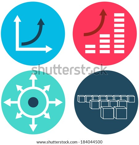 An image of exponential growth icons. - stock vector