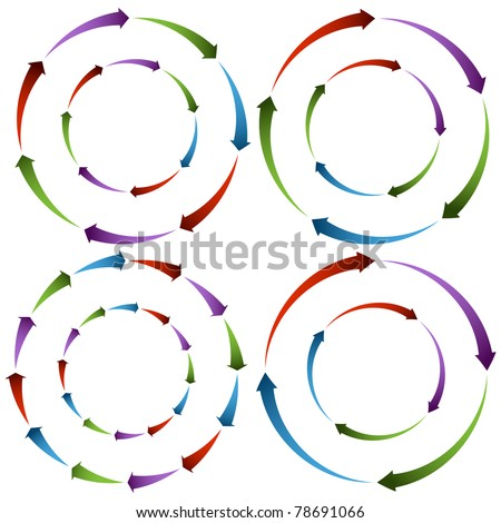 An image of flowing arrow wheels. - stock vector