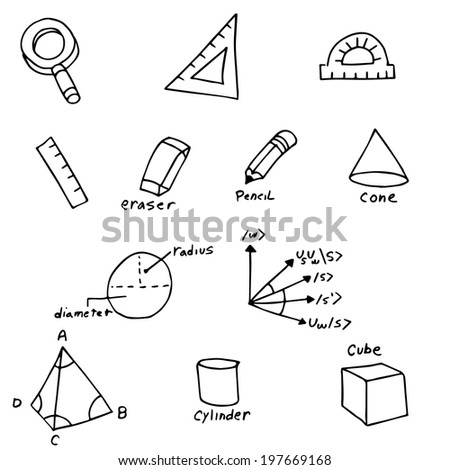 An image of geometry symbols. - stock vector