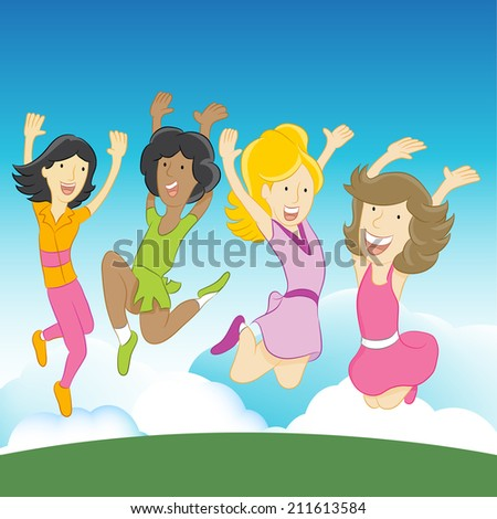 An image of happy girls jumping in the air. - stock vector
