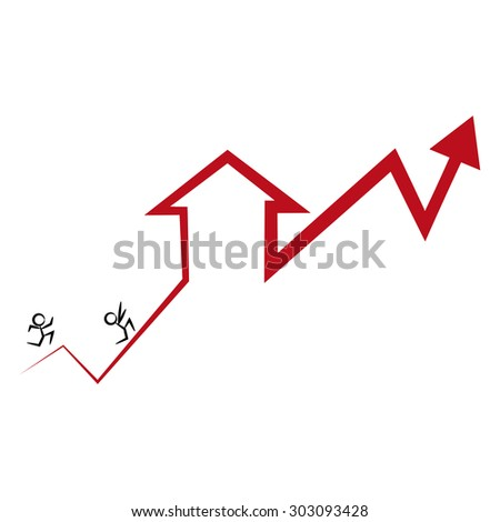 An image of home buyers trying to catch up with the rise of home prices and interest rates. - stock vector