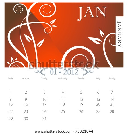 An image of January month victorian calendar page. - stock vector