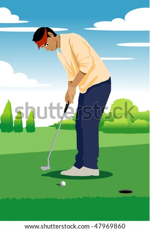 An image of man standing on the green ready to put the golf ball into the hole