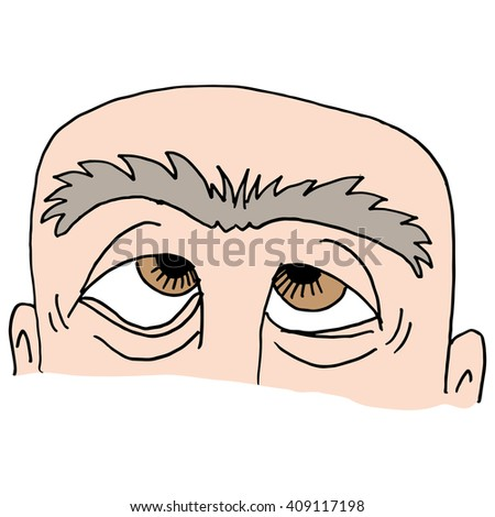 An image of Man with unibrow. - stock vector