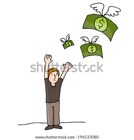 An image of money flying away. - stock vector