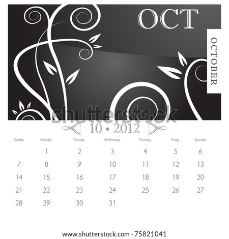 An image of October month victorian calendar page. - stock vector