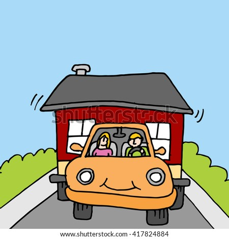 An image of people towing a tiny house. - stock vector