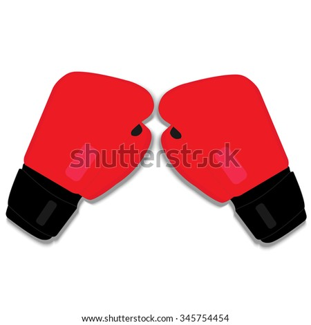 an image of red boxing gloves on red background - stock vector