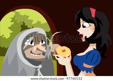 An image of the evil queen dressed up as an old hag offering the poisonous half of the apple to Snow White