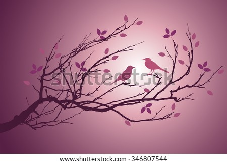 An image of two bird in love on a branch - stock vector