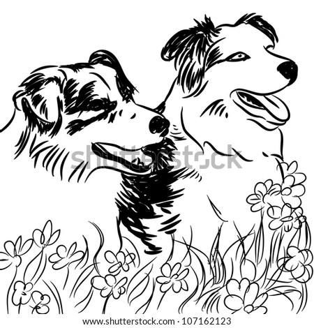 Cartoon border collie stock images royalty free images for Border collie coloring pages