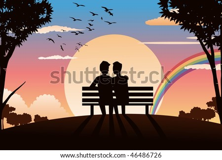 An image of two gay lovers sitting on a park bench and watching the sunset