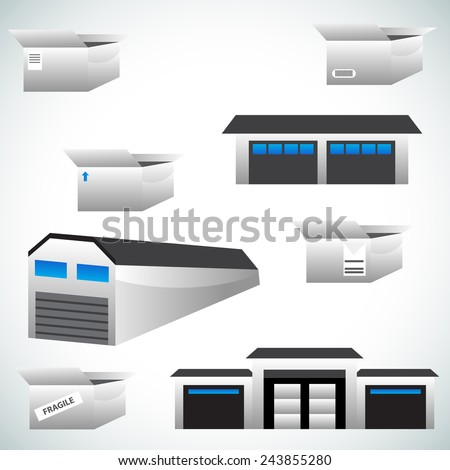 An image of warehouse icons. - stock vector