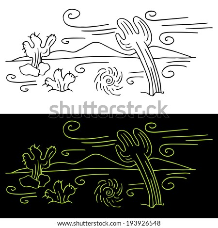 An image of wind blowing across a desert landscape. - stock vector