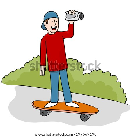 An image of young man making a skateboarding video.