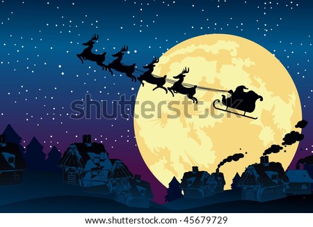 An image showing a silhouette of Santa Claus flying on his sleigh being pulled by his reindeer against a backdrop of full moon - stock vector