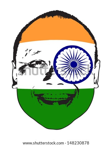 An India flag on a face, isolated against white.  - stock vector