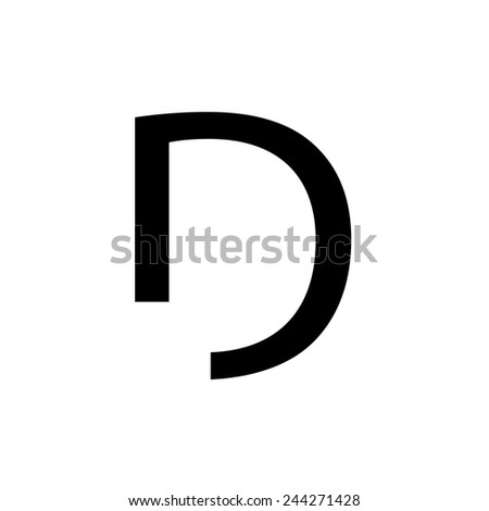 An Individual Alphabet Character of a Custom Font - Uppercase D - stock vector