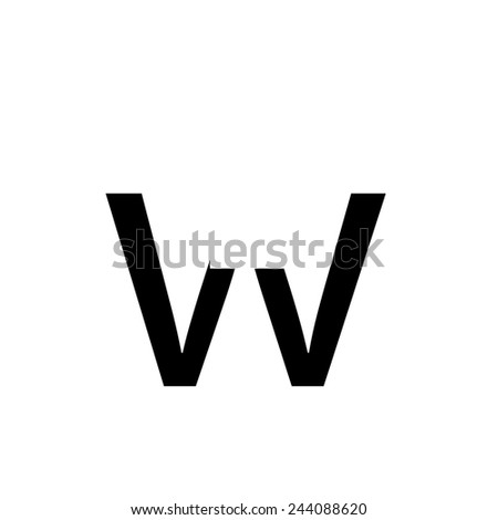 An Individual Alphabet Characters of a Custom Font - Lowercase W - stock vector