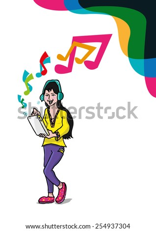 An Ink Drawing Concept of a Girl who Uses a Tablet and Wireless Headset either for In App Gaming, listening to music, video calling, watching video clips or more. EPS 10 clip art and JPG. - stock vector