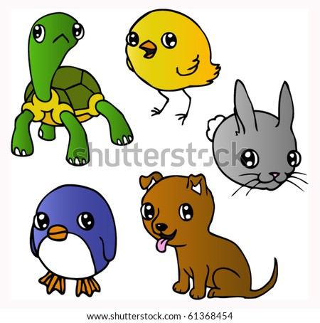 An ink illustration of a cute cartoon puppy, tortoise, penguin, chick and rabbit. Vector.
