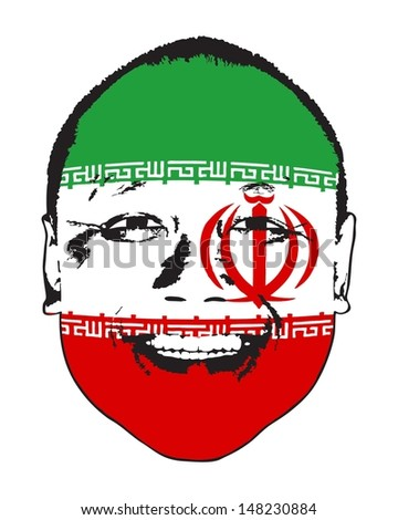 An Iran flag on a face, isolated against white.  - stock vector