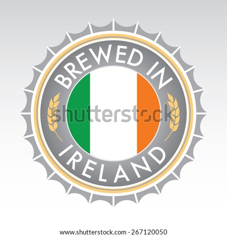 An Irish beer cap crest in vector format. The bottle cap features the Irish flag flanked by two golden wheat icons. - stock vector