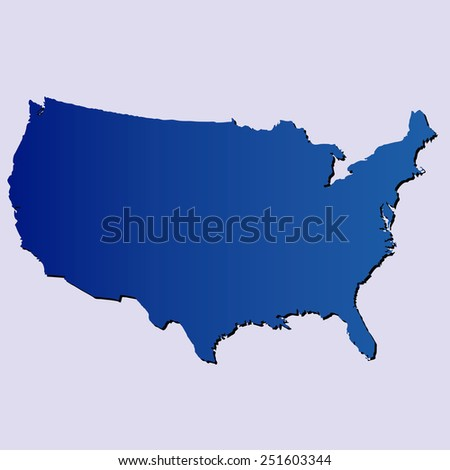 an isolated blue map of usa on a blue background - stock vector