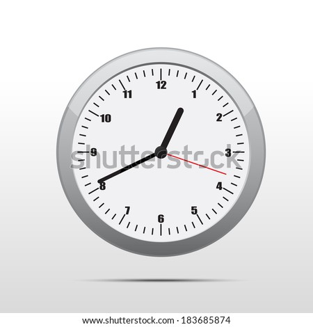 An isolated clock with the time - stock vector