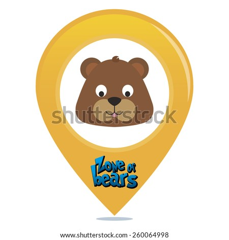 an isolated colored pin with text and an animal