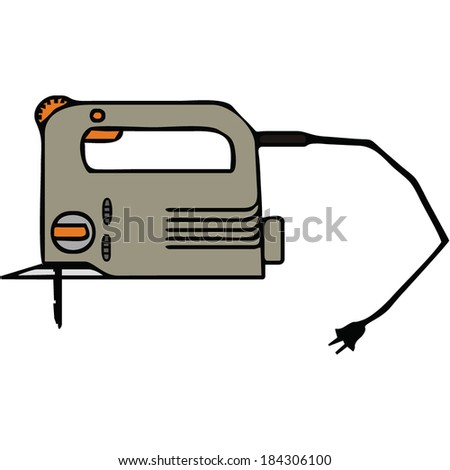 an isolated electric jigsaw, building tools, vector illustration