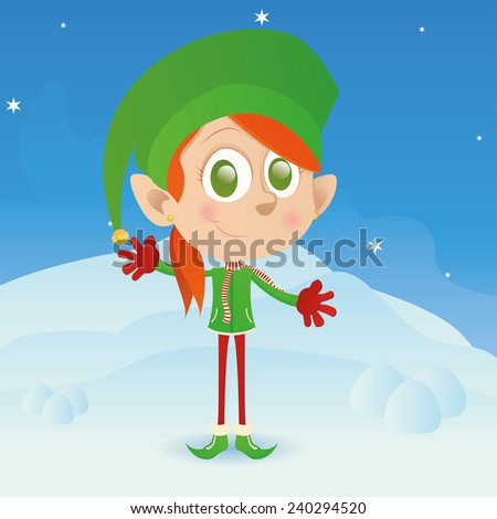 an isolated elf with winter clothes on a winter background