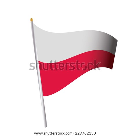 an isolated flag of poland on a white background