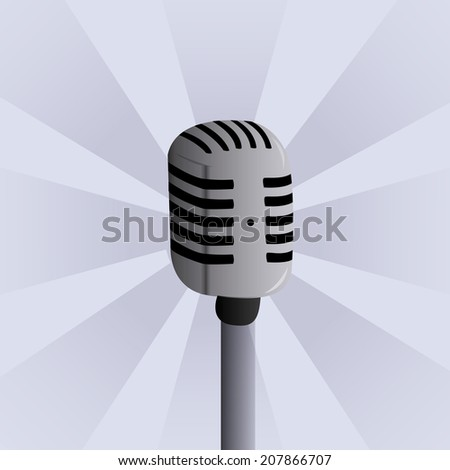 an isolated grey microphone in a blue background