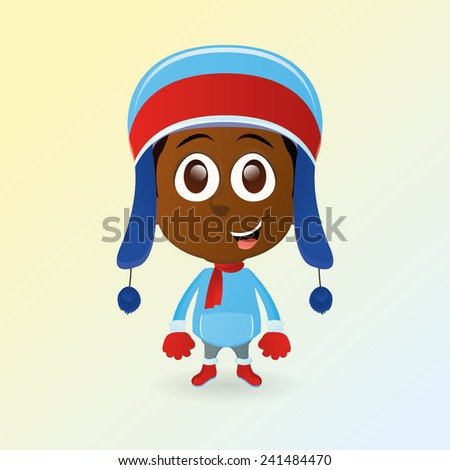 an isolated happy boy with winter clothes - stock vector