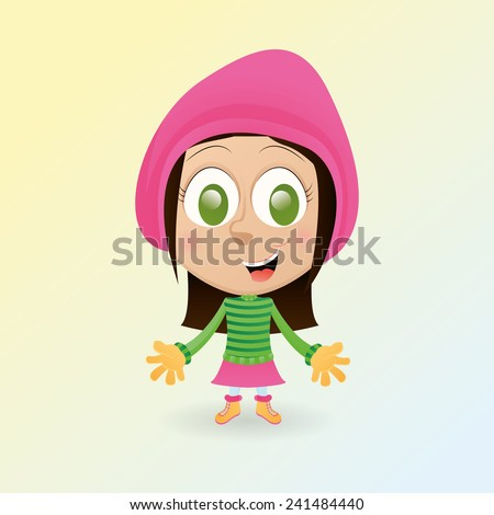 an isolated happy girl with winter clothes - stock vector