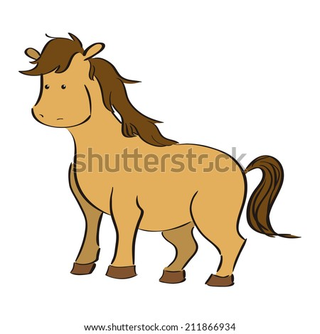 an isolated horse on a white background