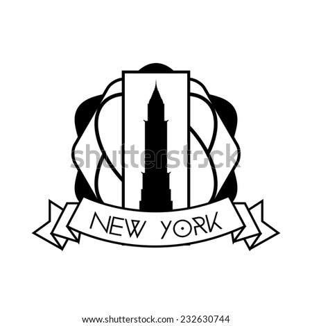 an isolated label with a black silhouette of the chrysler building - stock vector