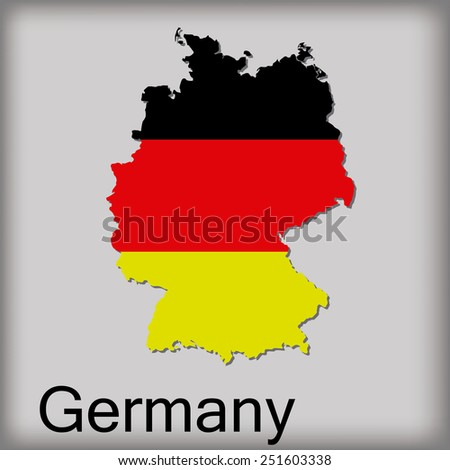 an isolated map of germany with its flag and text