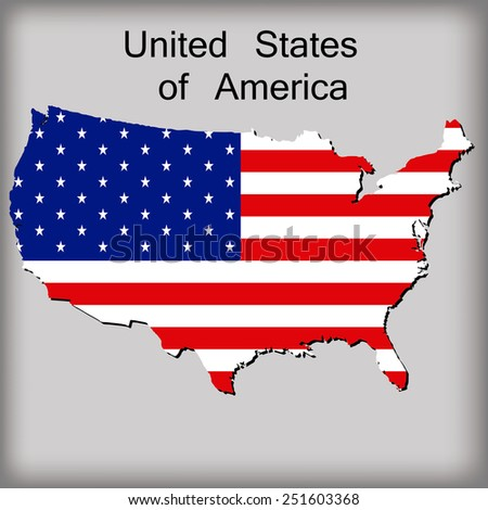 an isolated map of usa with its flag and text - stock vector