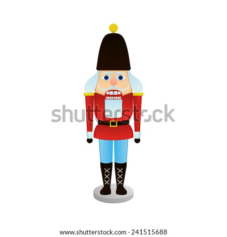 an isolated nutcracker soldier on a white background - stock vector