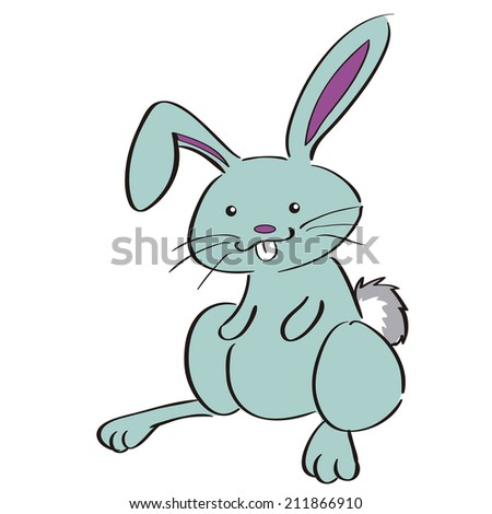 an isolated rabbit on a white background - stock vector