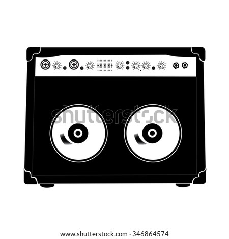 An isolated silhouette of a cassette on a white background