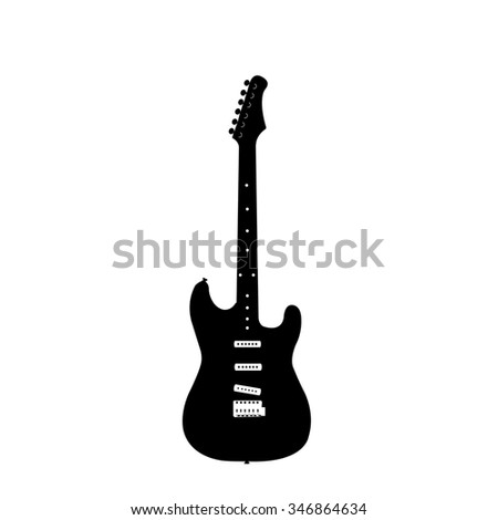 An isolated silhouette of an electric guitar on a white background