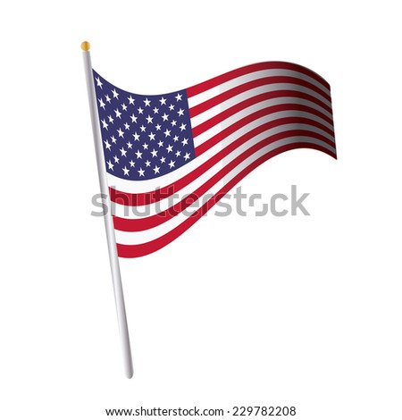 an isolated united states flag on a white background